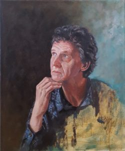 A realistic alla prima portrait in oil depicting the Dutch composer-pianist Hen Doeke Odinga.
