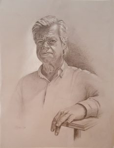 A drawn portrait of a sitting man, with his arm leaning.