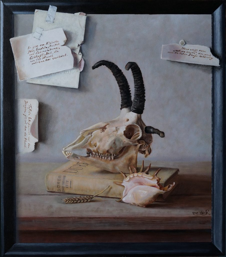 A realistic oil painting on wood with trompe l'oeil effects and a homage to Northern Renaissance on behalf of Albrecht Dürer, and to which certain attributes are added.