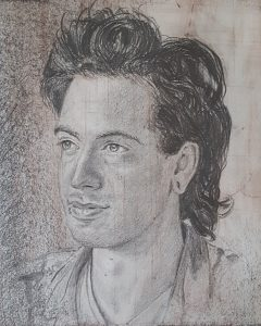 A drawn portrait of a young man with a lip piercing.
