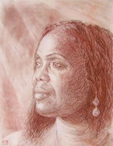 A portrait in red chalk of the head of a woman.