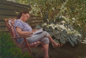 An oil painting of a woman in a garden, reading, during a springtime late afternoon, in the shade of a fence.