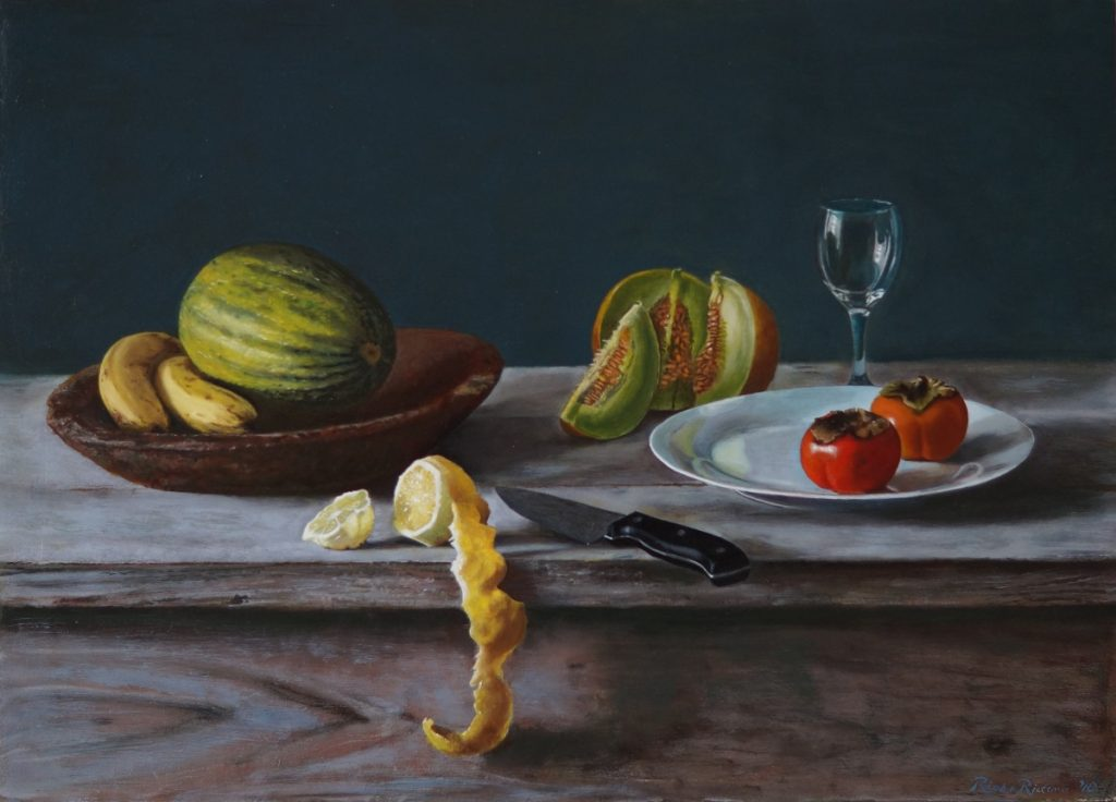 A realistic oil painting on panel of a still life with a handmade Indonesian wooden bowl.
