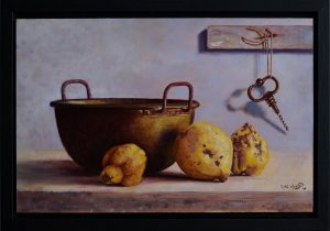 A realistic still life oil painting on wood of an old copper pan with quinces and a corkscrew on the wall.