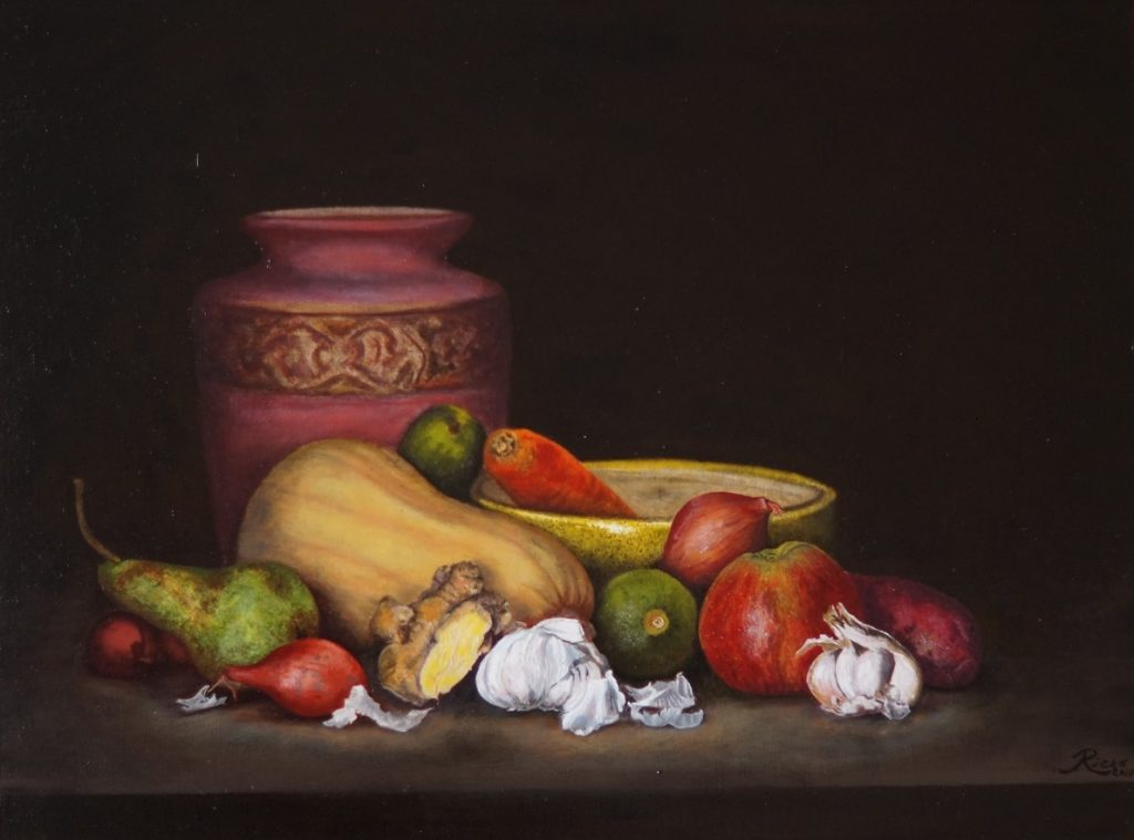 A still life with vegetables in front of a violet vase against a dark background, painted in oil on wood.