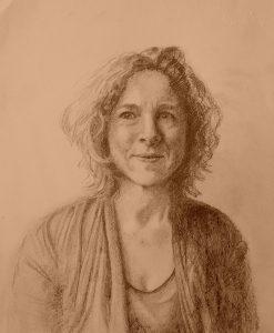 A drawn portrait of a woman's head.