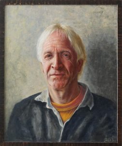 A portrait in oil om wood of a man named Robert Meadow.