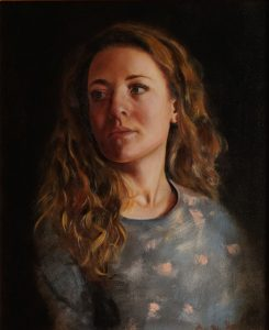 A realistic portrait in oil of a woman.