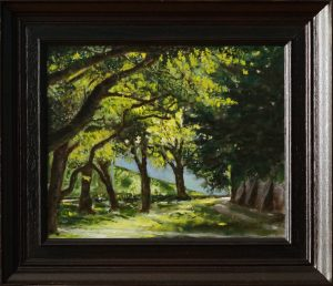 A realistic painting in oil of the Hunnerpark in Nijmegen, Gelderland, The Netherlands, during summer.