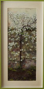 A framed realistic oil painting of a blooming little espalier pear in the garden of 't Oude Weeshuis in Nijmegen, The Netherlands.
