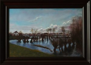 A realistic oil painting of a site in Ooijpolder near Nijmegen, during high water in spring.