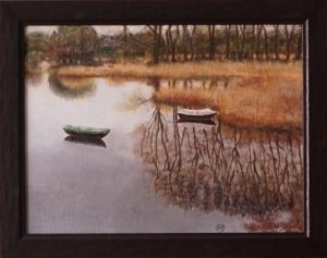 A realistic oil painting of a site in Ooijpolder near Nijmegen.