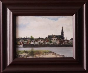 A realistic painting in oil depicting the Stevenskerk of Nijmegen seen from the city island.
