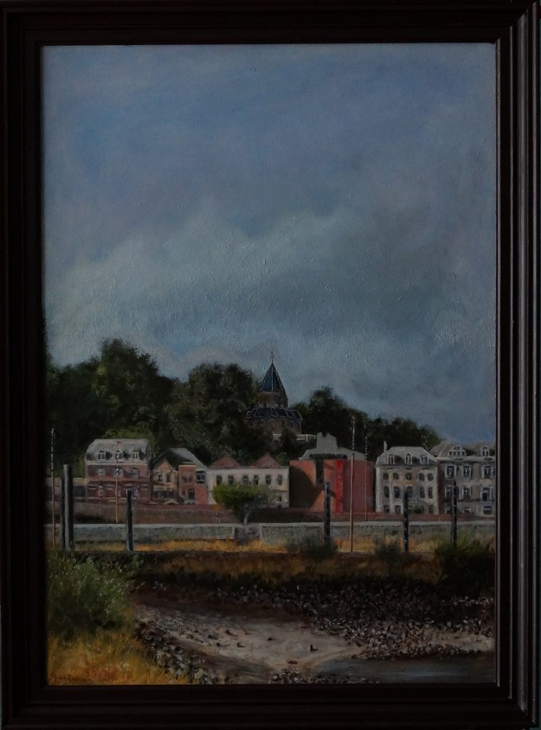 A realistic oil painting of the Waalkade beneath the Valkhof chapel, as seen from a sort of headland in the river Waal at the Lindenberghaven in Nijmegen, The Netherlands.