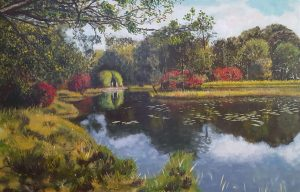 A realistic oil painting of a bower along a pond on a property in Bakkeveen in Friesland.