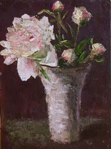A realistic oil painting on panel of peonies in a vase.