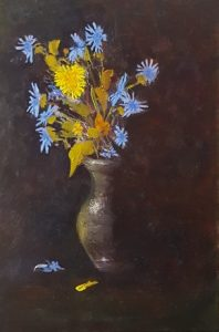A realistic oil painting on panel of chicory and sow thistle in a little vase.