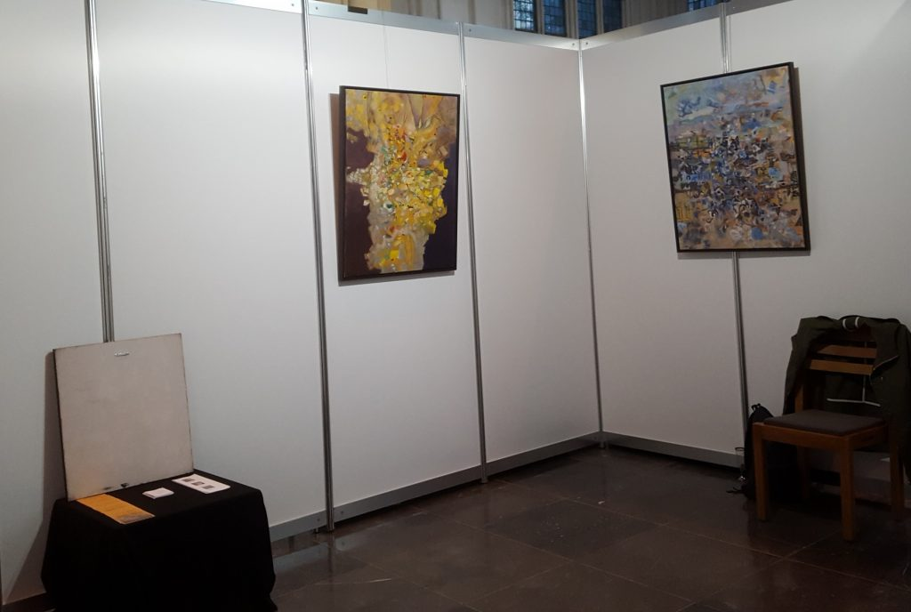Riebo Rietema Abstract Paintings 'Yellow' and 'Blue' on Art Fair Kunstraffinaderij, Nijmegen, The Netherlands, 2019.