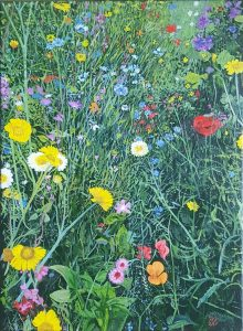 A realistic oil painting of a flowerbed.