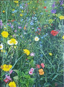 Een realistisch olieverf schilderij van een bloemenperk.