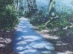 A realistic oil painting of a forest path.