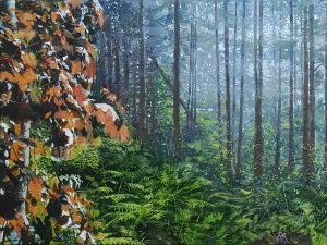 A realistic oil painting of a forest.