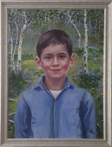 A portrait in oil on canvas of a child.
