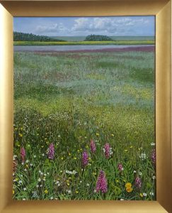 A realistic oil painting of a floodplain.