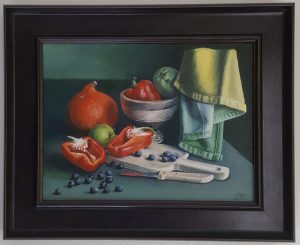 A realistic oil painting on canvas of red peppers and blueberries.