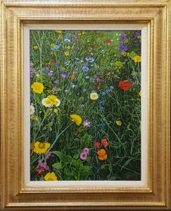 A realistic oil painting of a flower bed.