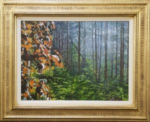 A realistic oil painting of a red maple in a forest.