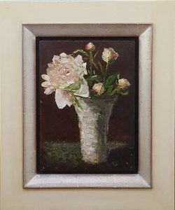 A realistic oil painting on panel of peonies in a grey vase.