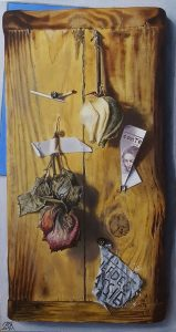 A realistic still life oil painting on panel.
